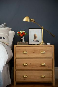 Ikea hack brass pulls // not sure if this is an actual IKEA hack but it could easily be done with a cheap IKEA nightstand. Ikea Hack Nightstand, Ikea Tarva Dresser, Nightstand Ideas, Small Dresser, Bedside Lamp, Dressers, Unique Nightstands, Gold Dresser, Bedside Tables