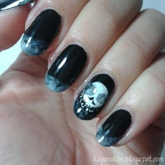 Nightmare before Christmas inspired Halloween nails (glossy version)