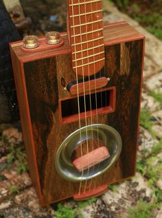 Raulo Guitars electric fanned fret resonator cigar box guitar