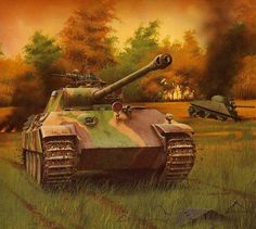 Pz V Panther with infrared night vision equipment autumn spring Otto Carius, Army Vehicles, Armored Vehicles, Military Art, Military History, Military Drawings, Germany Ww2, Tank Armor, Armored Fighting Vehicle