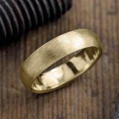 6mm 14k Yellow Gold Mens Wedding Band, Half Round Matte - Point No Point Studio - 1