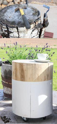 Mesita DIY con un tronco / Vía http://www.thewoodgraincottage.com/