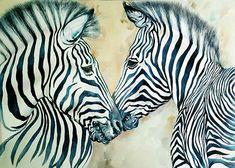 Zebra portrait Africa Stripes Original Watercolour Painting