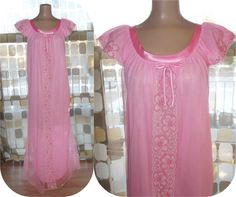 $25.99 #Vintage #60s Day Glow #PINK Sheer Chiffon Long #Nightgown S/M #Lingerie Feminine Satin & Lace #VCAT #VINTAGELOVE by IntrigueU4Ever, $25.99