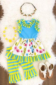 Blue & Yellow Stripe Floral Ruffle Capri Set