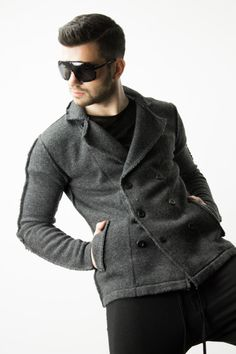 Men's high-fashion winter looks with the Civil Society double-breasted sweater in Heather Black Grey. | www.differio.com