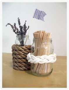 DIY Decorated Rope Glass Jars