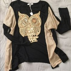 🍂Golden Owl Sequined Top🍂 🍂Amazing quality sweater/shirt. 🍂Gold toned inside sleeves. 🍂Golden sequined owl. 🍂Great for fall and winter. Brand NWT. Loose fitting and comfortable🍂 Fits S/M/L 🍂 Look for model pics on my other listing🍂 Tops