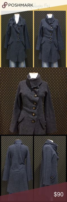 """Anthro """"Carbonella Sweatercoat"""" by Casch Copen... Casch Copenhagen by Gro Abrahamson. 100% wool, excellent/mint condition.   Charcoal grey, Asymmetric buttons, lower thigh length.  Size 40 which equates to a US large, but it's a pretty loose fitting large.  Fine for a size XL.   Rare & highly sought old school Anthro piece. Circa 2007 ☘️Prices are firm and quite reasonable 🍀Smoke Free Home 🍀Bundles Welcome but please keep them under 10 items (5lbs) 🍀Kitty friendly household 🚫No Trades…"""