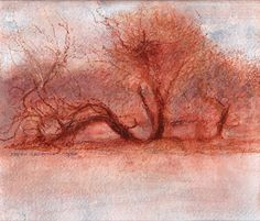 image of landscape oil pastel drawing Landscape Study III by David Ladmore