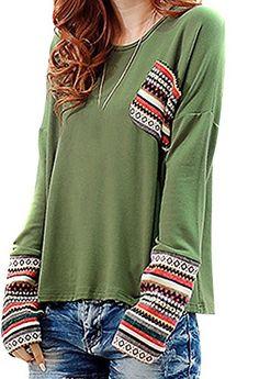 VonFon Womens Plus Size Splicing Long Sleeve Sleeved Loose T-shirt Army green Vonfon http://www.amazon.com/dp/B00NN3KZRY/ref=cm_sw_r_pi_dp_W8-Lub1EPEB5M