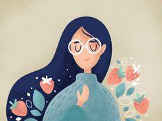 First illustration of 2019 portrait vintage illustration gradient flower cute cartoon Floral Illustration, Flat Design Illustration, Cute Cartoon, Drawing Ideas, Branding, Illustrations, Portrait, Disney Characters, Drawings