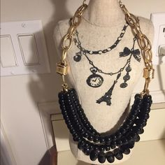 Landau Black Beaded 3 Layer Necklace Landau black beaded 3 layer costume jewelry necklace Landau Jewelry Necklaces