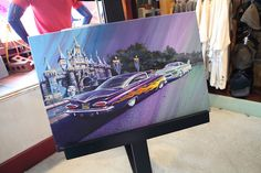 Chip Foose Painting inspired by Pixar's Cars. Flow and Ramone in front of Disney castle.