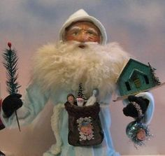 """German-style SANTA CANDY CONTAINER """"RARE"""" color~PUTZ HOUSE~By: JeanT. Littlejohn"""