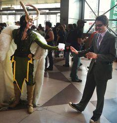Well, this is cute! XD // cosplay-avengers-loki-tony-stark-cosmic-cube-tesseract-nycc2012