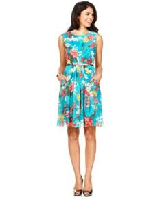 Evan Picone Dress, Sleeveless Belted Pleated Floral Printed - Womens Dresses - Macy's