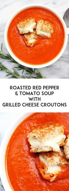 roasted red pepper tomato soup w grilled cheese croutons roasted red ...