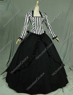 Victorian Black White Stripes Ball Gown Dress Period Costume Reenactment Clothing