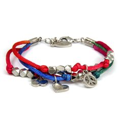 Beaded Multi-strand Color Blend Satin Cord Bracelet with Peace, Cherry, and Heart Charms