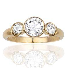 bezel ring designs yellow gold   Home / Three Stone Bezel Set Yellow Gold & Diamond Ring