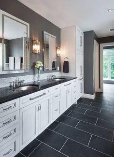 Contemporary Bathroom - Large Vanity, Strong Lines - Laurysen Kitchens Master Bathroom Vanity, Bathroom Vanity Designs, Bathroom Ideas, Bathroom Renos, Bathroom Renovations, Beach House Bathroom, Bathroom Inspiration, Check, Custom Bathrooms