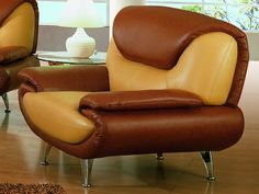 brown chair.  Looks like it was made from a peanut butter cup...