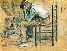 Peasant Sitting by the Fireplace (Worn Out) - Vincent van Gogh