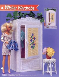 barbie plastic canvas | Wicker Wardrobe Barbie Doll Plastic Canvas Pattern NEW - 30 Days To ...