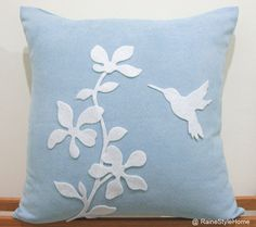 Summer Blossom Humming Bird Soft Blue and by RaineStyleHome, $29.00