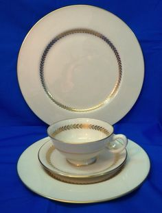 Lenox Imperial China 4 pc Setting Dinner Salad Plate Cup Saucer Dinnerware  #Lenox