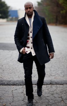 Cheron is wearing a cardigan sweater underneath a dope peacoat - See more at: http://blackmensdossier.com/photos/coats/cheron-boyd#sthash.amWLioh1.dpuf