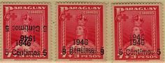 Paraguay - Crown on Women stamps theme, 1946. Red Cross stamps with various overprint errors.