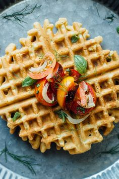 zucchini-basil chickpea waffles w/ tomato + shaved fennel salad
