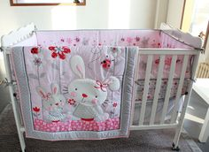 Ups Free Pink Rabbit Cartoon Baby Bedding Set Baby cradle crib cot bedding set…