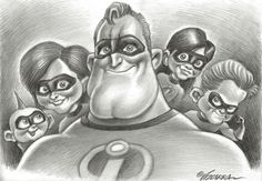 The Incredibles - Original Drawing - Joan Vizcarra Cartoon Pencil Drawing, Cartoon Drawings, Pencil Drawings, Art Drawings, Cartoon Pics, Cartoon Characters, Adult Coloring Pages, Coloring Books, Chicano Drawings