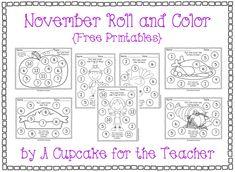 November Roll & Color Free Printables