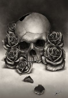 Drawings of roses and skulls