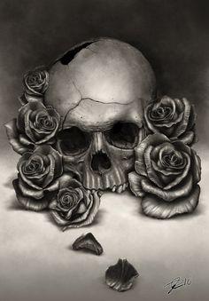 Drawings of roses and skulls