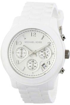 Michael Kors Ladies Chronograph White Rubber Strap Watch MK5292