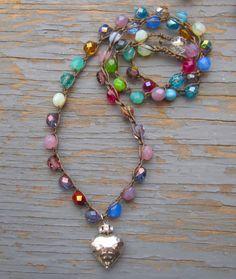 Multi coloured czech crystal crocheted boho necklace by Sydneyjos