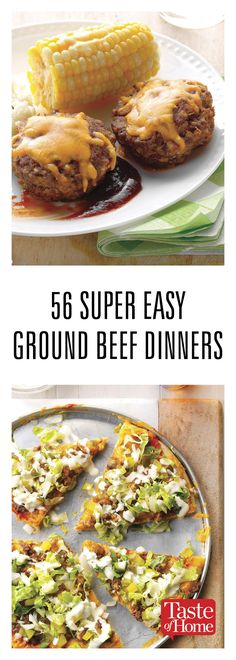 56 Super Easy Ground Beef Dinners What's for dinner tonight? How about skillets, easy hamburger recipes, burritos, meatloaf and more. You'll want to bookmark these ground beef recipes for simple (yet tasty) suppers. Ground Beef Recipes For Dinner, Dinner With Ground Beef, Ground Beef Recipes Easy, Easy Meat Recipes, Easy Dinner Recipes, Cooking Recipes, Healthy Recipes, Atkins Recipes, Recepies With Ground Beef