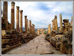 Greco-Roman columns at Gerasa, Jordan.