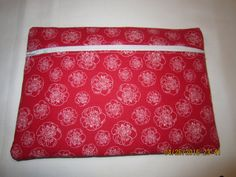 "8"" Cosmetic Bag / Make Up Bag / Pencil Pouch - White Flowers on Red by ShawnasSpecialties on Etsy"
