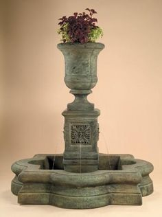 Chambers Fountain with AWC Quatrefoil Basin and Plumbed. A beautiful fountain with dual functions. It's a calming fountain with a gorgeous planter on top to make it visually pleasing. Patio Water Fountain, Garden Fountains, Garden Ponds, Water Fountains, Garden Statues, Large Outdoor Fountains, Diy Water Feature, Outdoor Water Features, Water Walls