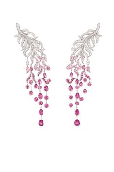Chanel's Plume Enchantée earrings in 18K white gold set with 243 brilliant-cut diamonds, four pear-cut diamonds, 142 round-cut pink sapphires, and 16 pear-cut pink sapphires. Courtesy of Chanel  - ELLE.com