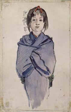 Fillette au kimono bleu Regamey Félix Elie (1844-1907) peintre, dessinateur , et caricaturiste français (C) RMN-Grand Palais (musée Guimet, Paris) / Droits 19e siècle, période contemporaine de 1789 à 1914 aquarelle, encre