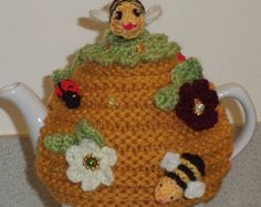 queen bee  - hand knitted, crocheted and beaded small 2 cup tea cosy