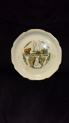 1940's Yellowstone national park hand painted souvenir plate by sabin warranted 22k gold by TeresaScholleDesigns on Etsy