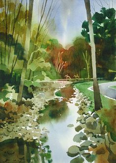 """14"""" x 20"""" Arches cold pressed paper, Metroparks Trail, Jeff Suntala."""